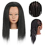 Mannequin Head with 100% Real Human Hair Training Head for Hairdresser Doll Head Styling with Free Clip Holder Practice Braiding Styling Cosmetology Manikin Training Dolls Head for Hairstyle Salon Practice Afro Mannequin Training Head Human Hair for Braiding (14inch, B)