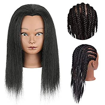Mannequin Head with 100% Real Human Hair Training Head for Hairdresser Doll Head Styling with Free Clip Holder Practice Braiding Styling Cosmetology Manikin Training Dolls Head for Hairstyle Salon Practice Afro Mannequin Training Head Human Hair for Braiding  14inch B