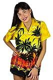 Funky Camisa Blusa Hawaiana, Manga Corta, Beach, Amarilla, L