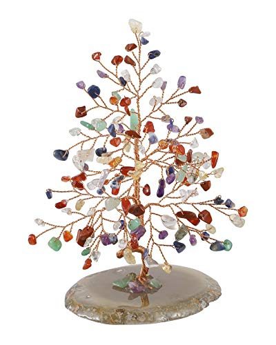 CrystalTears Edelstein Baum des Lebens Dekoration Wire Wrap Trommelsteine mit Achatscheibe Basis 14-16cm hoch Feng Shui Lebensbaum Geldbaum Glückbaum Tisch Büro Deko (Sieben Chakra)