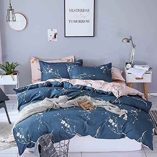 Boqingzhu Bettwäsche 155x220cm mit Blumen Pflanzen Muster Rosa Blau 2 Teilig Weiche Microfaser Bettbezug Set mit 80x80cm Kissenbezug Wendebettwäsche Set mit Reißverschluss