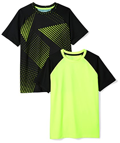 Amazon Essentials Toddler Boys Active Performance Short-Sleeve T-Shirts, 2-Pack Black Print/Lime Colorblock, 4T