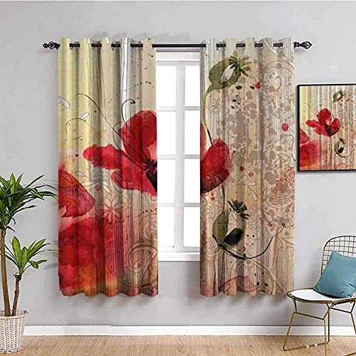 JYDFC Blackout Curtains for Bedroom Eyelet - 3D Digital Printing Perforated Curtains - Living Room Bedroom Kitchen Nursery Curtain - 110X96 Inch - Red Fashion Plants Flowers