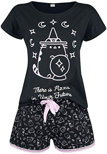 Pusheen There Is Pizza In Your Future Mujer Pijama Negro
