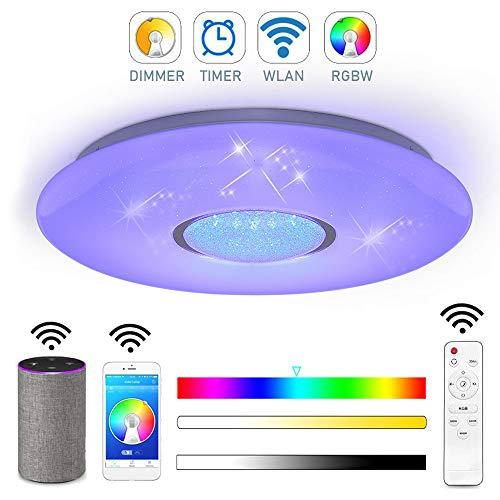 Style home 24W WLAN Deckenleuchte LED/RGB Deckenlampe dimmbar mit Fernbedienung moderne Lampe mit WLAN/Alexa Funktion (41 * 41 * 7cm)