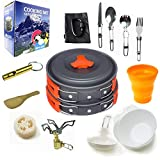 Better Outdoor Camping Cookware Mess Kit Gear with Folding Camping Stove, Non-Stick Lightweight Pots...