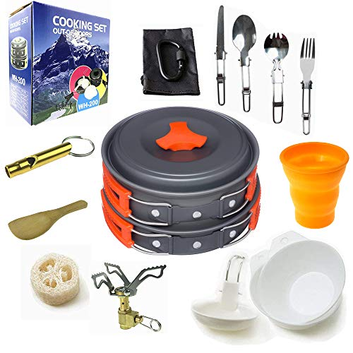 Camping Cookware Mess Kit Backpacking Gear & Hiking Outdoors Bug Out Bag Cooking Equipment 18 Piece Cookset | Lightweight, Compact, Durable Pot Pan Bowls - Free Folding Spork (Orange-18 Pieces)