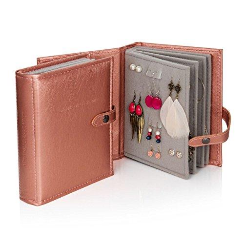 Little Book of Earrings, porta orecchini a libro, in oro rosa metallizzato (lingua italiana non garantita)