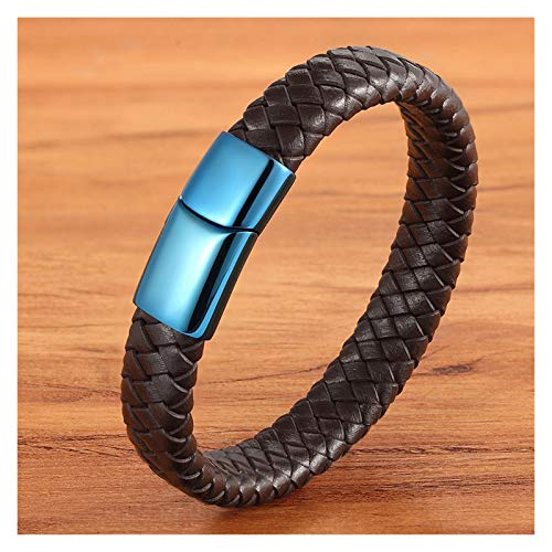 Personalised Classic Luxury With Blue Color Leather Combination Stitching Blue Color Simple Buckle For Stainless Steel Leather Men's Bracelet for Men (Length : 19cm, Metal Color : Brown)