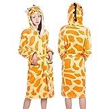 LUOSI Erwachsene Tier Flanell Bademantel Nachtwäsche Frauen Männer Bademantel Nachthemd Dicke Warme Robe Winter Unisex Panda Einhorn Plüsch Pyjama (Color : Giraffe, Size : S)