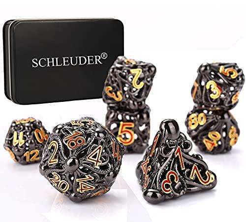 Schleuder Set Dadi D&D, Set of 7 Dadi Metallo, Dadi Poliedrici, Polyhedral Dice Set for Dungeons & Dragons, Dadi Gioco di Ruolo, Rpg, D&D Math Teaching (Bronze-Tintenfisch)