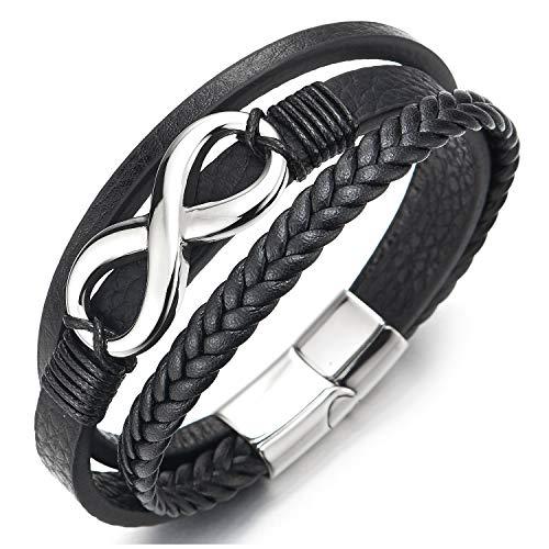 COOLSTEELANDBEYOND Infinity Liebe Unendlich Number 8 Verflochtenen DREI Stränge Schwarz Geflochtene Leder Armband für Herren Damen