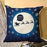 happygoluck1y Kissenbezug Weihnachtsmann im Schlitten mit Rentier auf Mond Weihnachten Kissenbezug 45cm x 45cm Leinen Überwurf Kissenbezug Quadratisch 18x18 mit Reißverschluss Kissen Fall für Sofa Couch Home Decor