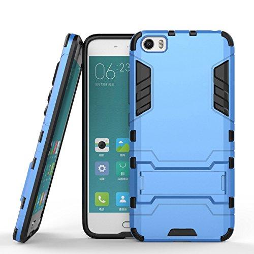 Ycloud Tasche für Xiaomi Mi5 Hülle, stärkste Handy Shock Proof Armor Dual Schutzabdeckung Hochfeste PC Kunststoffoberschale Shockproof mit Halterung Schutzabdeckung Blau