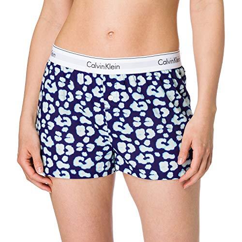 Calvin Klein Damen Sleep Short Pyjamaunterteil, Leopard Gecko_Purple Fuss, M