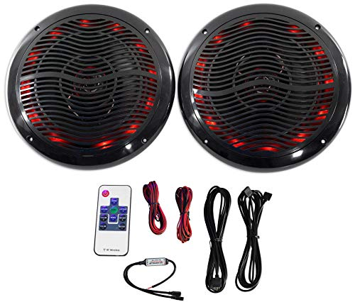 Price comparison product image Rockville Rmc80lb 8 Inch 800W 2-Way Black Marine Speakers W Multi Color LED + Remote