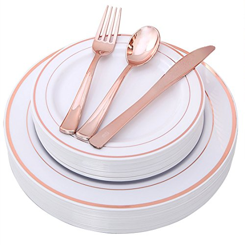 100 Piece Rose Gold Plates with Disposable Plastic Silverware, Elegant Tableware Set Includes : 20 Dinner Plates, 20 Dessert Plates, 20 Forks, 20 Knives, 20 Spoons (rose gold dinnerware set)