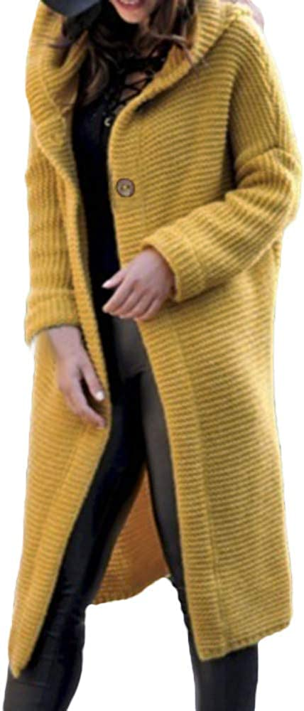 Adult Top,Women's Long Sleeve Pure Color Loose Long Sweater Cardigan Hooded Outwear Winter Clothes