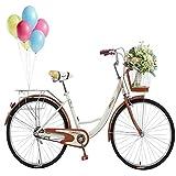 US Stock Adult Bike Beach Cruiser Bike with Shopping Basket for Seniors, Women, Men, Retro Bicycle with Comfortable Seats & Back Seats Womens Bike, 2021 Release