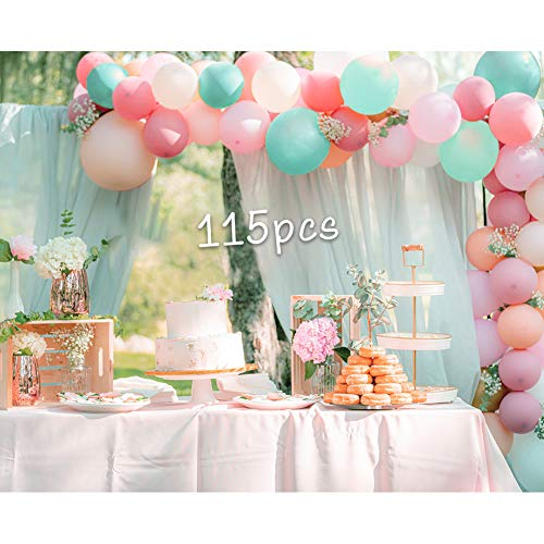 Pastel Balloons Garland Arch Kit-115pcs Candy Colored Party Balloons 5'10'12'18'inch Latex Balloons for Baby Shower Wedding Graduation Party Birthday Decors(Multi color)