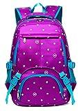 Polka Dots School Backpacks for Girls Kids Elementary School Bags Bookbag (Polk-Dot,Purple&Blue)