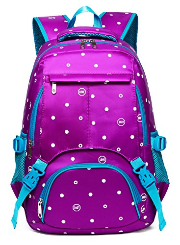Polka Dots School Backpacks for Girls Kids Elementary School Bags Bookbag (Polk-Dot,Purple&Blue)
