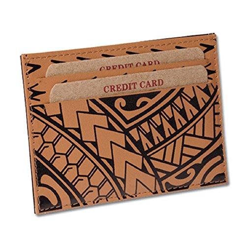 "Porta-cartões de crédito de couro de tatuagem polinésio super fina ""Hiku"", Tan, One Size"