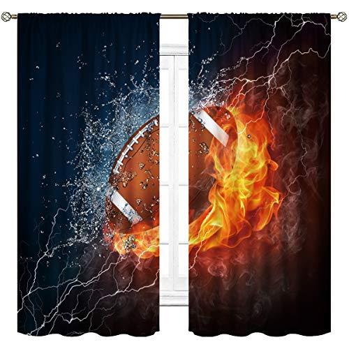 Cinbloo American Football Curtains Rod Pocket Fire Water Sports Flame Splashing Thunder Lightning Cool Boys Art Printed Living Room Bedroom Window Drapes Treatment Fabric 2 Panels 52(W) X 63(L) Inch