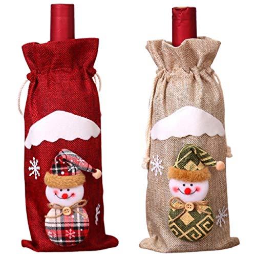 Empeer – Lote de 2 botellas de champán de tela de yute y cordón de ajuste, diseño de Navidad, original personaje de muñeco de nieve, Navidad, color beige y rojo