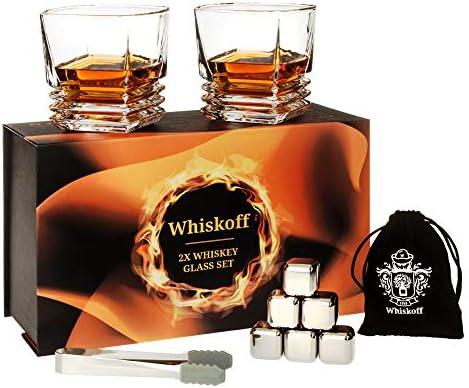 Whiskey Glass Set Bourbon Stainless Steel Ice Cubes Set of 6 Whiskey Scotch Gift Box Bourbon product image