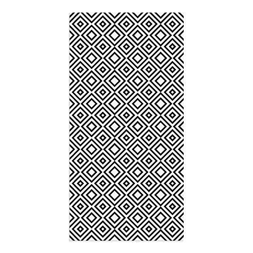 DON LETRA Alfombra Vinílica de 100 x 50 cm para Salón, Cocina, Dormitorio, Baño, Oficina y Tienda, Material Resistente y Lavable, Grosor de 2 mm, Color Blanco y Negro, ALV-029