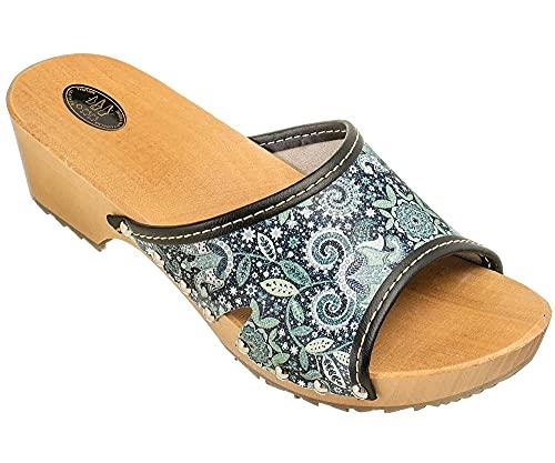 ESTRO Zuecos De Madera para Mujer Calzado Sanitario De Trabajo CDL04 (Flor, Numeric_39)