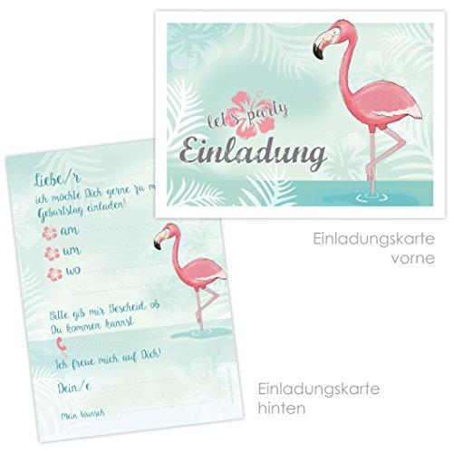 10 Einladungskarten mit niedlichem FLAMINGO zum Kindergeburtstag für Mädchen und Jungs, Kindergeburtstag Einladungskarten für die Gartenparty, Poolparty, Sommerparty