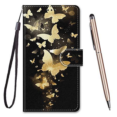 TOUCASA für iPhone SE 2020 Hülle,Handyhülle für iPhone SE 2020,Premium Brieftasche PU Leder Flip [Kreativ Gemalt] Case Handytasche Klapphülle für Apple iPhone SE 2020 (4,7 Zoll),Gelber Schmetterling