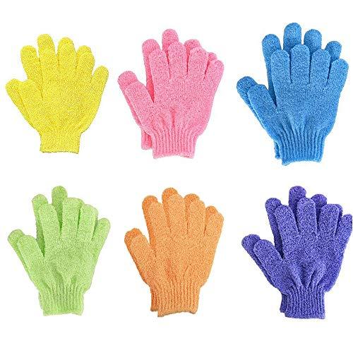 6 Paare Peeling Handschuhe,Peeling Handschuhe Fünf Finger Badetuch Starkes doppelseitiges Peeling, Schrubbhandschuhe,für Peeling Körper Handschuhe für Dusche für Herren und Damen