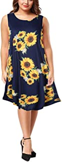 Clearlove Plus Size Boho Sundress Sleeveless Floral T Shirt Dresses for Women
