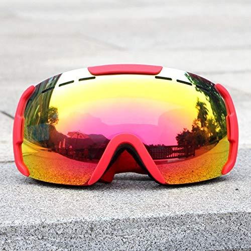 NoNo Skibrille Doppel-Objektiv Anti-Fog-windundurchlässige UV-beständig Glare Ski Brille for Männer und Frauen Masken Schneebrillen Erwachsene Ski Snowboard Goggles (Color : RED Frame)