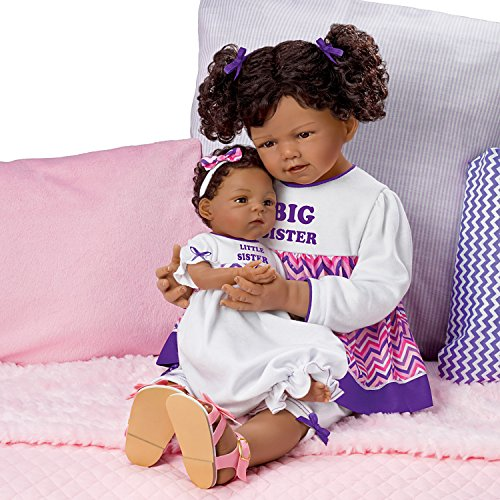 The Ashton-Drake Galleries A Sister's Love Set So Truly Real Lifelike & Realistic African-American Baby Dolls 24-inches and 13-inches