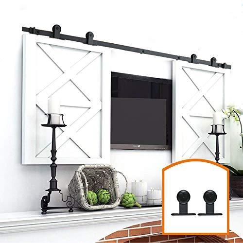 ZEKOO 2.5-8FT Super Mini Sliding Barn Door Hardware Kit Top Mounting Black Roller Rails for Closet TV Stand Furniture Storage Cabinet System (6FT, Double Door Kit)
