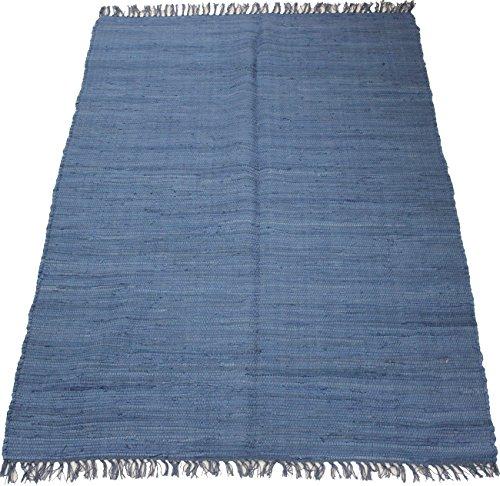 ORNAMENT 140 x 70 cm Einfarbiger Fleckerlteppich in Uni BLAU Handgewebt Kelim Beidseitig nutzbar 2000g/m Baumwolle Kilim Flickenteppich Orient Teppich