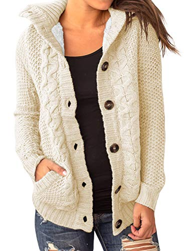 Happy Sailed Damen Langarm Strickjacke Strickcardigan Cardigan Strick Hoodie Kapuzenjacke , beige, L