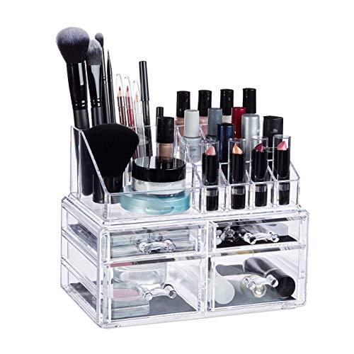 Relaxdays, transparent Organizer mit 4 Schubladen, Make Up Kit für Lippenstift, Nagellack, Kosmetikregal Acryl, Standard