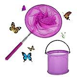 Olymajy Redes de Mariposa Telescópicas, Red de Pesca y Cubo, Extensible con Varilla de Acero Inoxidable para Niños que Atrapan Insectos, Peces, Actividades al Aire Libre en la Playa, Jardín, Morado