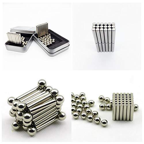 Bloques de palos de construcción magnéticos, Juego de construcción de imanes, Juego de palos y bolas magnéticos, (Plata 150 varillas magnéticas + 108 bolas de acero + caja de hierro)