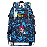ZZGOO-LL Dragon Ball Super Son Goku/Vegeta IV/Torankusu Mochila con para Mujer, Mochila de Viaje Suave, Mochila para Escuela, Notebook, Mochilas para niñas con USB-D