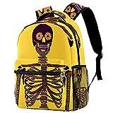 Mochila de viaje linda historieta escolar día de los muertos cráneo con gato Bookbag para niñas niños adolescentes, Multicolor 05,