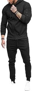 Mens Patchwork Sweatshirt Top Pants Hoodies Sports Tracksuit 2PC Set Suit