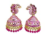 Grey Oxygen Designer Traditional Party Wear Golden Pink Jhumki Jhumka Set for Girls Women