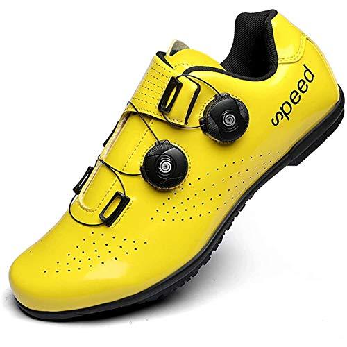 BHHT Calzado De Ciclismo para Hombre - Calzado De Bicicleta De Montaña Y Carretera Compatible con Tacos Transpirables con Botones Giratorios Calzado De Bicicleta con Pedal De Bloqueo Adecuado