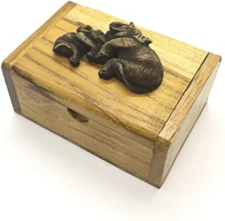 Danusorn Chi Vintage Thai Teak Wood Box with Elephants 100% Handmade Wooden Elephant Box for Jewelry Coin Ring Earring.(No5)